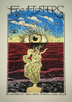Foo Fighters - Malleus - 2015 ---- hmm if this was true poetry the eye would be blue, so, demonic they love for IT? Foo Fighters Poster, Character Illustration, Illustration Art, Concert Posters, Music Posters, Rock Vintage, Rock Band Posters, Tour Posters, Expressive Art