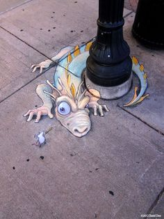 [Playful Chalk Art by David Zinn] - David Zinn is a passionate sidewalk chalk artist who creates playful street art with a sense of humor. He finds any opportunities and makes his cute little characters interact with objects in the street using pencil, ink, charcoal, chalk, paint (water-, acrylic, oil, and house).
