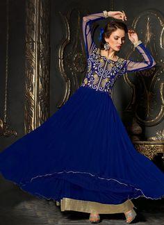 Blue Soft Net Ankle Length Anarkali Suit