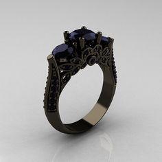 Black gold/black diamond rings.