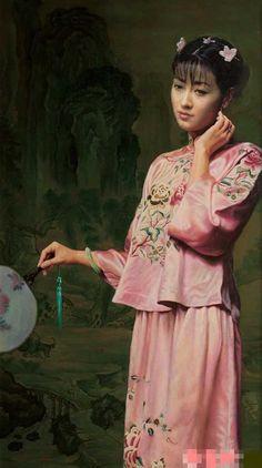 陈逸鸣油画作品:仕女系列-1 - 粉色绣衣 2004年作 作品尺寸:152*86cm