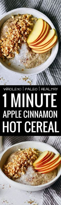 Instant apple cinnamon hot cereal. Rich and creamy whole30 breakfast cereal. Made in one minute! Can be made ahead. Paleo, gluten free, sugar free, and dairy free. A great alternative to malt-o-meal and oatmeal. Deliciously addicting and topped with apple crunchies and cinnamon.