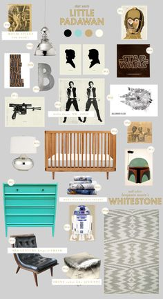 star wars baby nursery style board inspiration