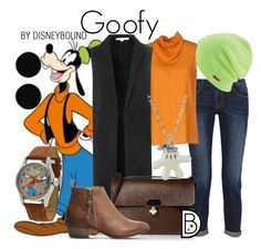 """Goofy"" by leslieakay ❤ liked on Polyvore featuring Frame Denim, Coal, Agnona, Disney, Glamorous, Orla Kiely, Office, AeraVida, disney and disneybound"