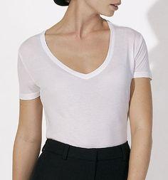 Seduces Modal - V-Neck T-Shirt aus Modal - weiss