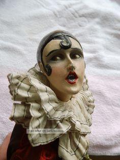 Antike Puppe Porzellan Stoff Sitzend Harlekin Pierrot Tkr Tkh ? 1900 1920 ? Doll…