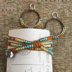 Chan Luu wrap bracelet in eco-friendly waxed linen. Studded with turquoise, citrine and carnelian stones that glimmer with the intensity of bangles, her sensuous bracelet strands wrap around the wrist in multiple circles. An easy loop and button closure holds it securely in place. I love the colors in this!