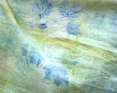 Eco Dyed Fine Linen Scarf Soft Green Yellow Eco print Maple Leaves  Natural Dye