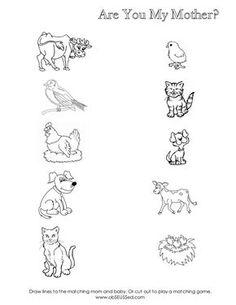 Worksheet for mom baby animal matching