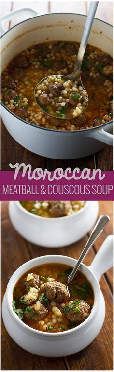 Moroccan Meatball and Couscous Soup Recipe. Loaded with tiny meatballs and pearl couscous, this soup is packed with flavor flavorful! Chicken Couscous, Pearl Couscous Recipes, Quinoa Soup, Moroccan Meatballs, Soup Recipes, Cooking Recipes, Gula, Soup And Sandwich, Couscous