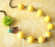 Yellow Necklace Beaded Jewelry Flower Necklace Yellow Jewelry Bridesmaid Necklace