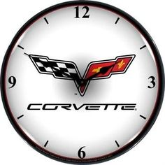 Collectable Sign and Clock GM1103307 14 Corvette C6 Logo Lighted Clock >>> Click on the image for additional details.