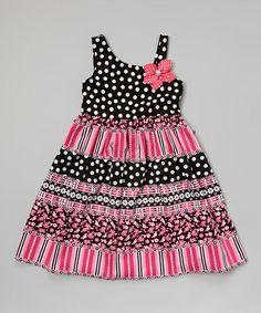 Look what I found on #zulily! Black & Pink Polka Dot Asymmetrical Dress - Girls by Youngland #zulilyfinds