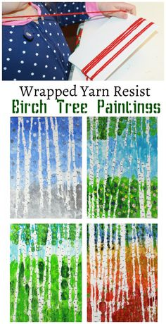 Wrapped yarn resist birch tree paintings for every season. Kids arts and crafts projects. Inspired by artist Gustav Klimt