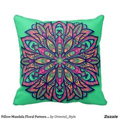 Beautiful pillow with colorful mandala for home decor. Unique accessories for your bedroom. Elegant indian design. Boho