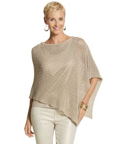Chico's Women's Demi Poncho, Gold, Size: One Size Timeless Fashion, Retro Fashion, Chicos Fashion, Macrame Dress, Outfits 2016, Crochet Poncho, Lookbook, Classic Outfits, Casual Looks