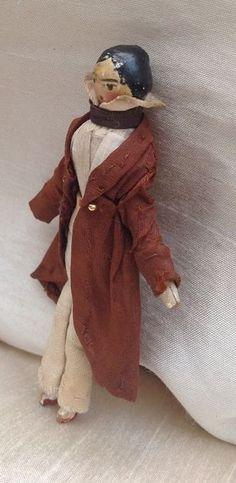 Rare Grodnertal wooden doll dressed as Boy