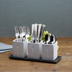 @Overstock - This 36-Piece Pfaltzgraff Everyday Danford Flatware Set with Ceramic Caddies is perfect for entertaining. This sleek flatware set features a simple, rounded rectangular shape that will complement any table setting.http://www.overstock.com/Home-Garden/Pfaltzgraff-Everyday-Danford-Flatware-Set-with-Ceramic-Holder/7440547/product.html?CID=214117 $48.99