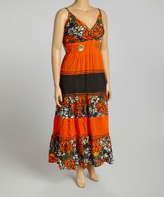 Take a look at the Orange Floral Maxi Dress - Plus on #zulily today!