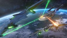 The Excelsior Class USS Enterprise (NCC-1701-B) in battle with 2 Romulan Whitewind Class Birds of Prey
