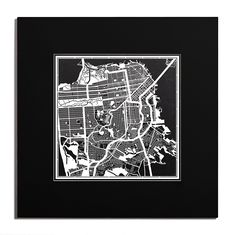 O3 Design Studio San Francisco Paper Cut Map Matted Black 20x20 inches Paper Art -- Check this awesome product by going to the link at the image. (This is an affiliate link) #WallSculptures