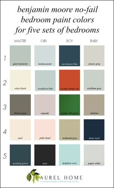 Best bedroom paint colors - Benjamin Moore No-Fail colors