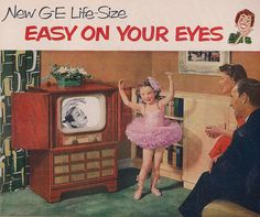 GE TV 1951. An iPad has a bigger screen! And those monsters burned 500-700watts. No wonder your '50s parents had a fit if the box was on with nobody in the room!