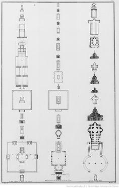 [Tome I. Pl.I en reg. folio ix : comparaison entre l'architecture des temples Egyptiens, Hébreux, Phéniciens, Grecs, Romains et les églises chrétiennes d'Occident. Plans du temple d'Effnay (n °4), d'Edfou (n °5), de Luxor (n °6), du temple de Salomon (n °12). Plans de temples Grecs et Romains (n °14 à 30) avec plans de la Tour des Vents d'Athènes (n °24), celui du temple de Jupiter Olympien à Athènes (n °25), du Panthéon (n °227 et 28) et du temple de Balbec (n °30). Plans de Sainte-Sophie…