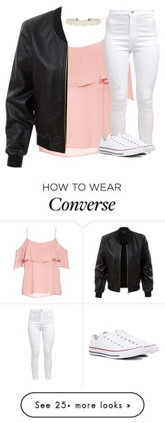 """Untitled #3099"" by laurenatria11 on Polyvore featuring BB Dakota, LE3NO and Converse"