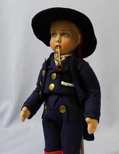 "11"" Antique LENCI Felt Doll c1930 Costume of COURMAGGIORE All-Original, Very EX"