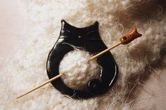 Black Fat Cat Shawl Pin Polymer Clay