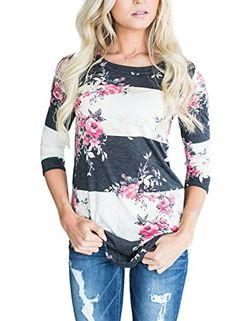 0762e7142b44 Annflat Women s Round Neck Floral Print Short Sleeve Blouse Color Block Tops  Medium Pink Casual Tops