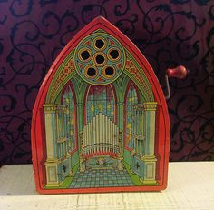 Gorgeous Art Deco Cathedral Musical Tin Toy Church Orange Teal - Music Not Working by tinprincess on Etsy