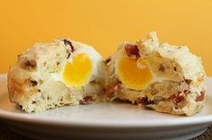 Bacon and Egg Muffins. A fun twist on a classic egg and english muffin combo. Chopped bacon and full egg inside of a fluffy homemade muffin. Kid approved. Grab and go!
