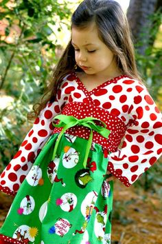 Christmas Dress Girls Grinch, Dr Seuss Dress, Kimono Dress, Holiday Dress, Girls Christmas Dress, Christmas Kimono. $49.99, via Etsy.