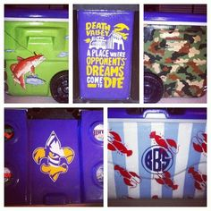 LSU cooler with guy Harvey, camo, crawfish