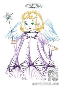 The Latest Trend in Embroidery – Embroidery on Paper - Embroidery Patterns Christmas Embroidery Patterns, Embroidery Cards, String Crafts, String Art Patterns, Sewing Cards, Angel Crafts, Prego, Art Sites, Card Patterns
