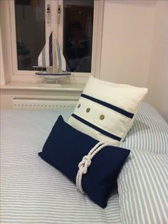 Handmade nautical cushions/love the rope!