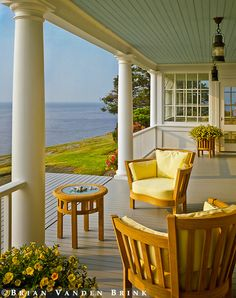 Outdoor living by the sea. Outdoor Rooms, Outdoor Living, Outdoor Furniture Sets, Outdoor Decor, Rattan Furniture, Coastal Homes, Coastal Living, Beau Site, Decks And Porches