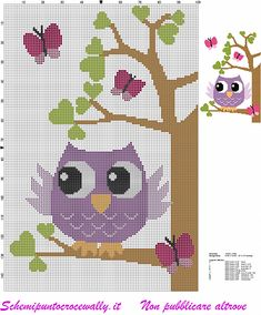 owl on tree with butterflies and hearts cross stitch pattern - free cross stitch patterns by Alex Cross Stitch Owl, Baby Cross Stitch Patterns, Butterfly Cross Stitch, Cross Stitch Animals, Cross Stitch Designs, Cross Stitching, Cross Stitch Embroidery, Embroidery Patterns, Owl Patterns