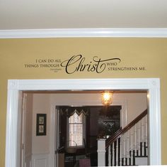 wall Stencil Quotes - Vinyl Wall Decal I can do all things through Christ Christian Quote Bible Verse Wall Decal Scripture Decal Christian Wall Decor. Wall Stencil Quotes, Vinyl Wall Decals, Vinyl Room, Vinyl Wall Quotes, Wall Stickers, Christian Wall Decor, Christian Signs, Christian Wife, Nursery Wall Decor