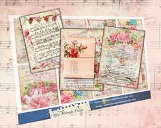 TAGs 76 Floral French Book Tags Valentine by aftermidnightdesign