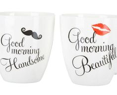 -- Quickly view this special product, click the image: Pfaltzgraff Good Morning Beautiful and Handsome 18 Oz. Mug Set in Black and White at Coffee World Coffe. Good Morning Beautiful Text, Good Morning Handsome, Mother's Day Mugs, Mugs Set, Christmas Mug Sets, Coffee World, Tea Cups, Coffee Mugs, Porcelain