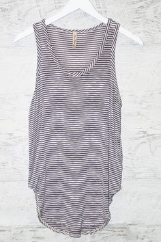Little Do You Know Navy Striped Tank Top