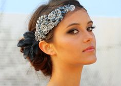 Colored Crystal Mini Hair Bandeau Ebony por DolorisPetunia en Etsy