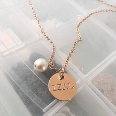 Disk Necklace with Pearl