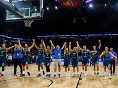 Players of Slovenia celebrate after winning the FIBA Eurobasket 2017 semi final basketball match against Spain at Sinan Erdem Dome in Istanbul Turkey...
