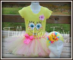 Spongebob tshirt hairbow and tutu combo size 4t by Tulletime, $26.00