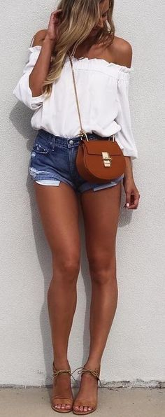 #summer #street #style | White + Denim                                                                             Source