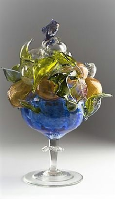 Miluse Kytkova- Roubickova (Czech, born Title: Fruit bowl , 1964 Medium: clear and colored glass Size: 35 cm. Colored Glass, Artist At Work, Czech Glass, Vase, Fruit, Medium, Home Decor, Homemade Home Decor, The Fruit